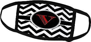 3dRose Face Mask Medium, Black and white chevron monogram red initial V