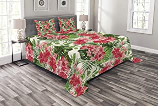 Lunarable Floral Bedspread Set Queen Size, Tropical Botanic Flowers Leaves Ivy Island Hawaiian Image, Decorative Quilted 3 Piece Coverlet Set 2 Pillow Shams, Pink Hunter Green Jade Green