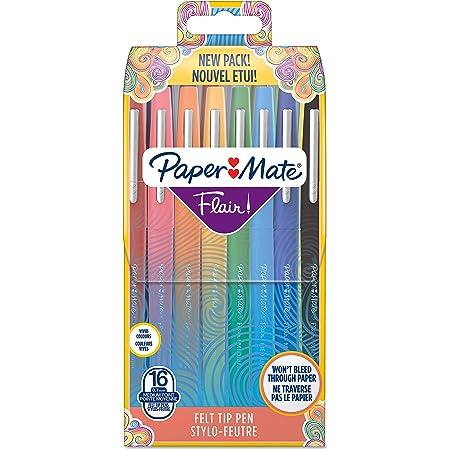 Paper Mate Flair Feutres de Coloriage | pointe moyenne (0,7 mm) | Assortiment de couleurs | Lot de 16