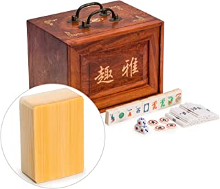 Yellow Mountain Imports Traditional American Mahjong Set, Bone and Bamboo Tiles with 5-Drawer Rosewood Case - A Set of Betting Sticks, Pair of Dice, Four Winds Tiles