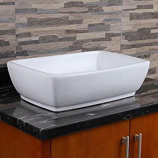 ELIMAXS Unique Rectangle Shape White Porcelain Ceramic Bathroom Vessel Sink