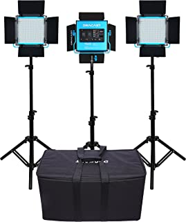 Dracast DRSPPLLK3x500BNS S Series Plus Bi-Color LED500 3-Light Kit 2 NPF Plates with Soft Case, Blue