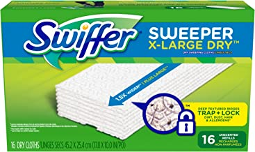 Swiffer Sweeper XL Dry Sweeping Pad Refills for Floor mop Unscented 16 Count (Pack of 3)