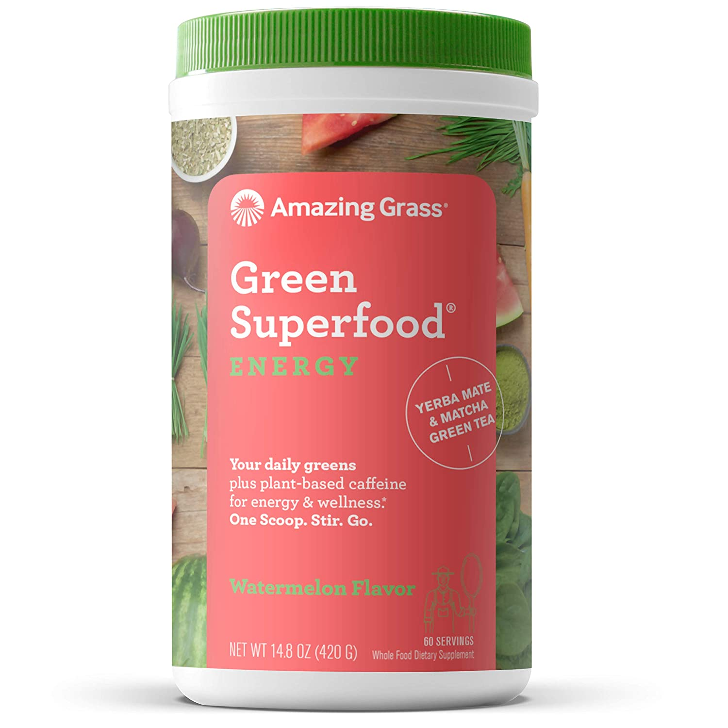 Amazing Grass Green Superfood Energy Super Greens Powder & Plant Based  Caffeine with Matcha Green Tea & Beet Root Powder, Watermelon, 8 Servings