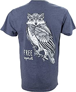Southern Charm Owl Free Spirit on a Heather Navy T Shirt