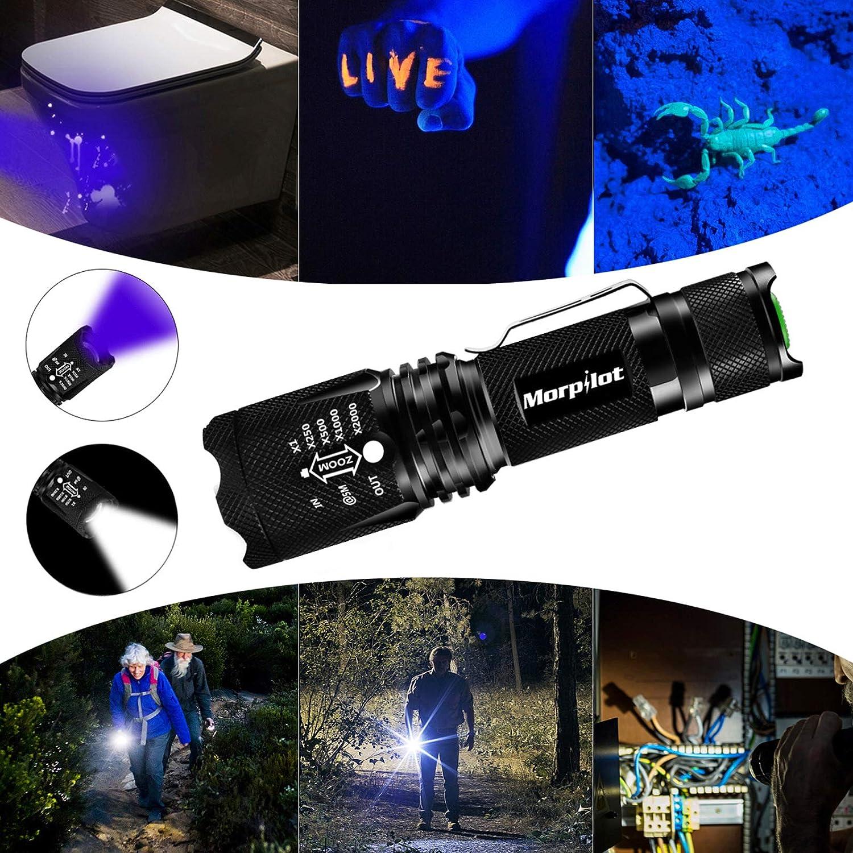 senderismo Linterna LED T/áctica Linterna 2PCS Alta Potencia 2000 L/úmenes rango de luz de 700M Impermeable IPX4 para exteriores Zoom IN//out Linterna Militar con 5 Modos camping