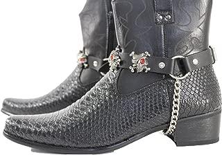 Trendy Fashion Jewelry TFJ Men Biker Boot Bracelets Black Leather Straps Silver Skeleton Pirates Skulls Motorcycle Style
