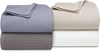 Vera Wang Waffle Weave Cotton Blanket; Full/Queen, White (90