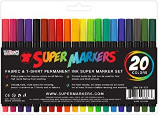 Super Markers 20 Color Premium Fabric & T-Shirt Marker Set with Our Unique Fine tip Bullet Point Tip - 100% Satisfaction Guarantee