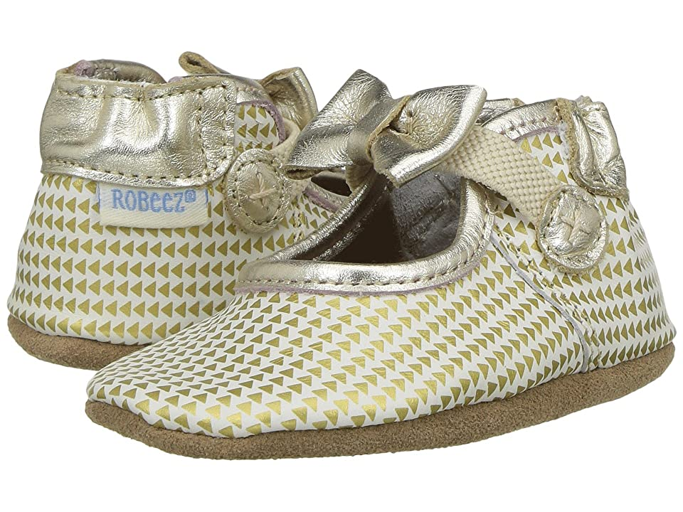 Robeez Triangle Print Mary Jane Soft Sole (Infant/Toddler) (Gold) Girl