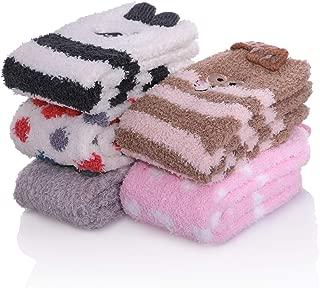 5/6 Pairs Women Plush Slipper Socks Winter Warm Fuzzy Fluffy Super Soft Cozy Home Socks