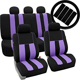FH Group FH-FB036115 FH2033 Combo Set: Striki0ng Striped Seat Covers w. Steering Wheel Cover & Seat Belt Pads, Purple/Black Color- Fit Most Car, Truck, SUV, or Van