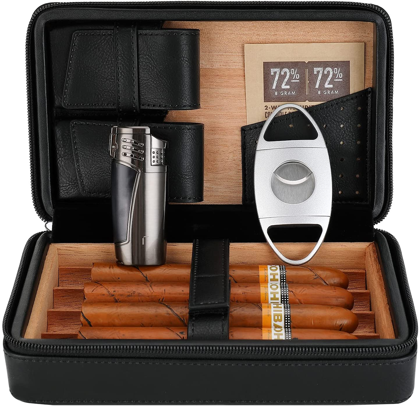 CiTree Portable Recommendation Max 53% OFF Cigar Humidor Cedar Leather Wood wit Case