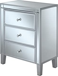 Convenience Concepts 413859SS Gold Coast 3-Drawer End Table, Silver/Mirror