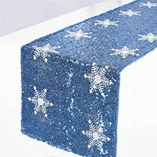 TRLYC Turquoise Sequin Table Runner with Shimmer White Snowflake Pattern for Christmas Party Decoration-12