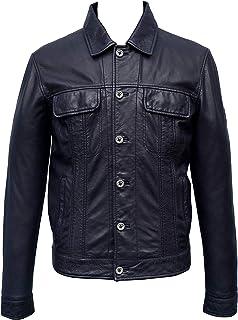Sponsored Ad - Men Navy Blue Leather Jacket
