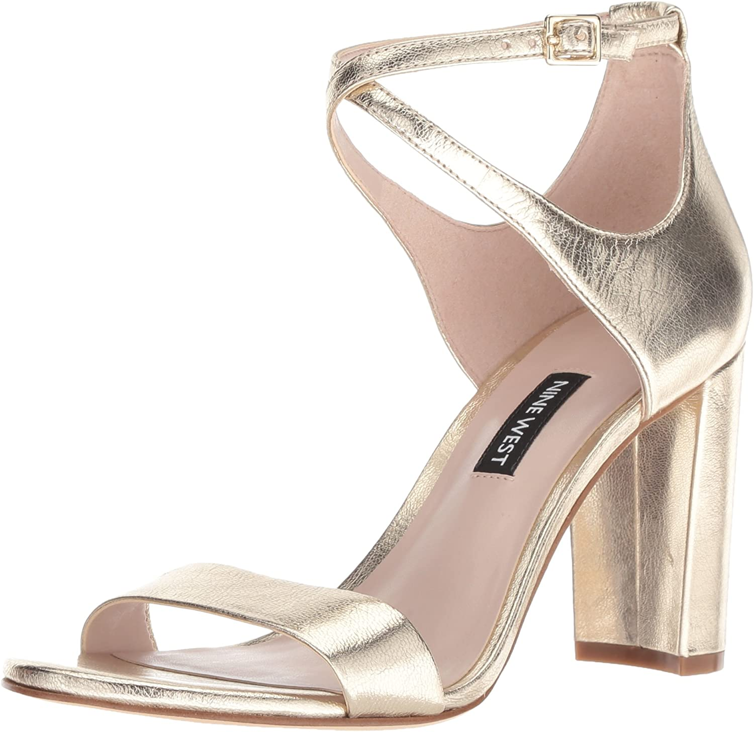 Nine West Womens Nunzaya Metallic Heeled Sandal