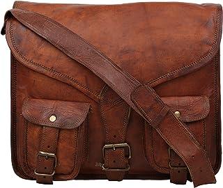"""Handcraft""""Prince"" Vintage Genuine Leather Brown Sling Mac-Book Bag"