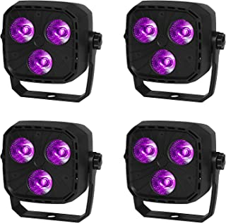 GBGS Birthday Par Uplighting Led RGBW 12W 8CH DMX512 Sound Activated Wall Washing DJ Stage Light for Wedding, Party Show 4 Pack
