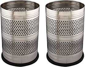 Kuber Industries 2 Piece Stainless Steel Garbage Dustbin, 18 litres, Silver
