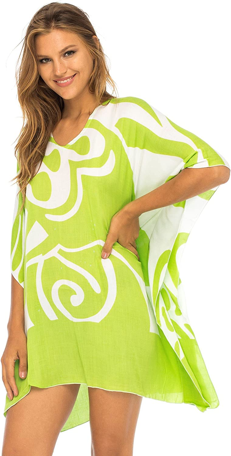Back From Bali Womens Loose Short Beach Dress Swimsuit Cover up Caftan
