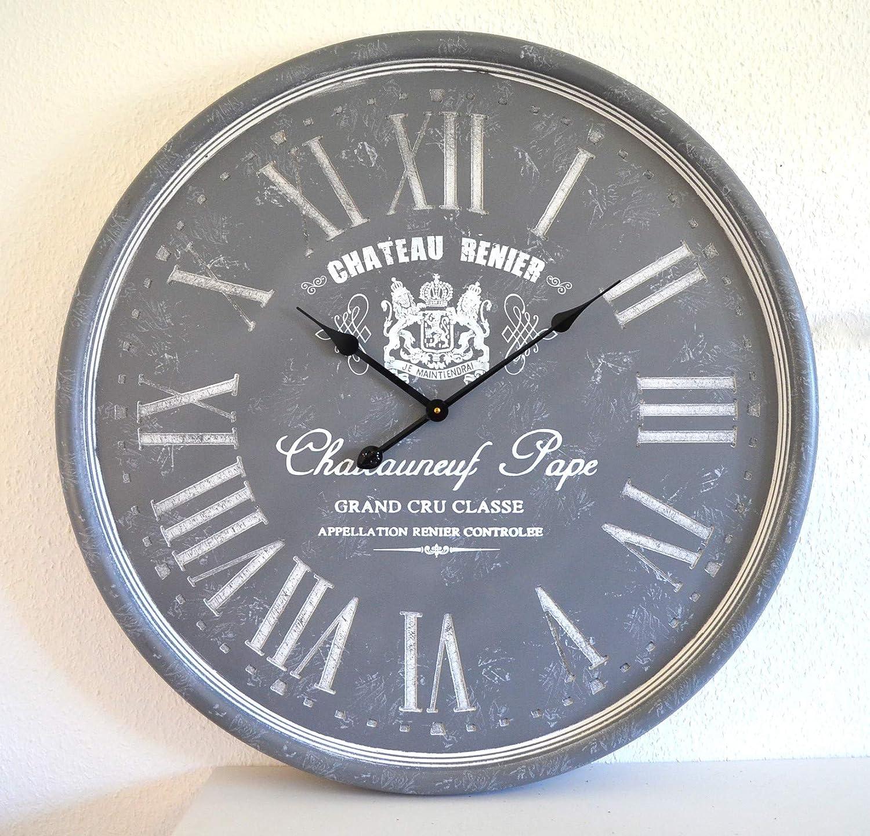 Deko Wanduhr Uhr XXL Chateauneuf grau Big Watch Vintage Trenduhr Küchenuhr      ca. 79cm Durchm.      Wohn