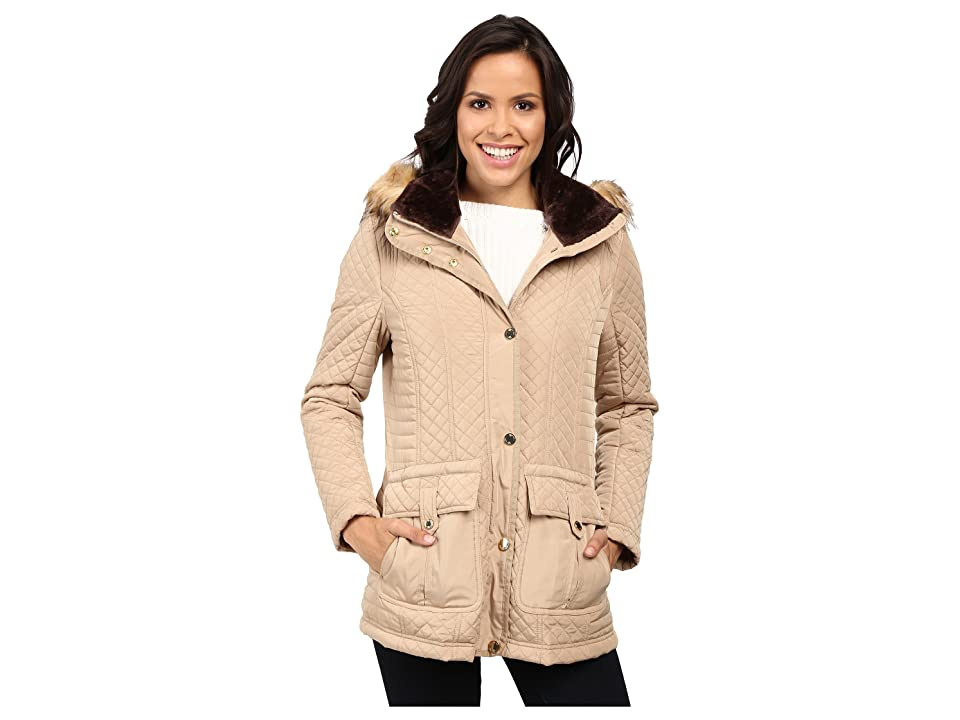 Jessica Simpson Quilted Anorak w/ Removable Hood and Faux Fur (Khaki) Women's Coat