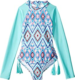 Aztec Folk Long Sleeve Surf Tank One-Piece (Little Kids/Big Kids)
