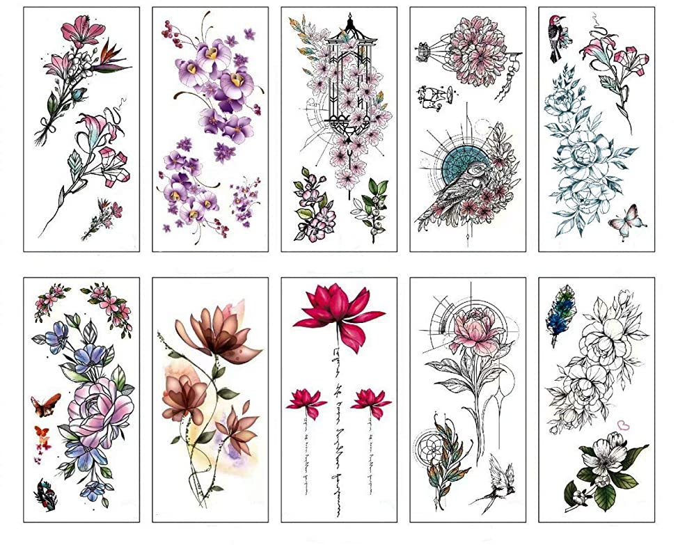 Spestyle Flower Temporary Tattoos Stickers Rose Lotus Cherry Blossoms Flash Tattoo Pack of 10 Sheets