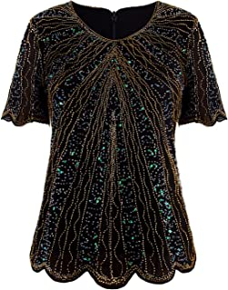 Vijiv Women's 1920s Vintage Beaded Evening Top Art Deco Scalloped Hem Sequin Embellished Blouse Tunic
