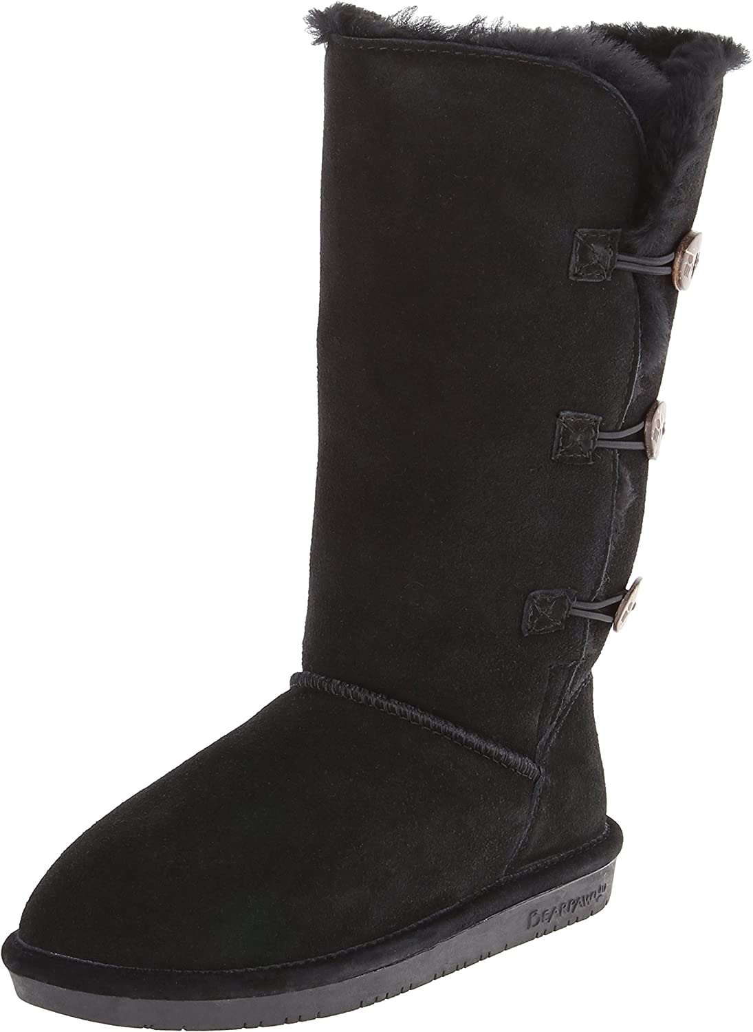 Bearpaw Women's Lauren Winter Boot, Black, 6 M US