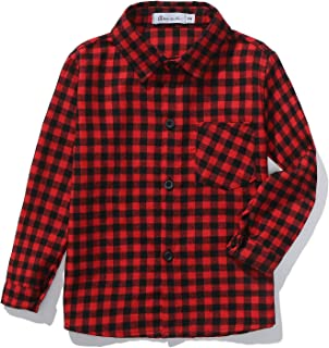 Kids Long Sleeve Boy's Plaid Flannel Button Down Shirt 2T-12