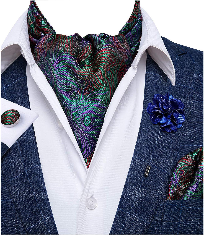 DiBanGu Paisley Floral Ascot Self Tie Men's Silk Woven Cravat Tie Handkerchief Cufflink Boutonniere Set Wedding Party
