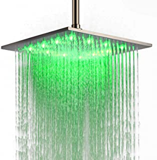 JinYuZe Luxury 12 Inch Large Square Stainless Steel LED Rainfall High Pressure Shower Head Adjustable Ceiling Mounted,Brushed Nickel