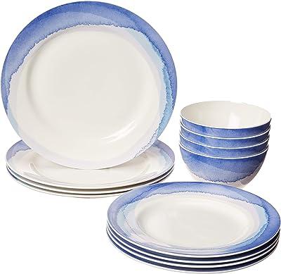 LENOX Indigo Watercolor Stripe 12-Piece Set, 18.45 LB, Blue