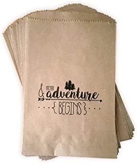 Kraft Paper Rustic Treat, Favor Or Gift Bags 24 ct & so The Adventure Begins Made Out of 100% Recycled Paper