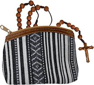 Black and White Striped Purse with Catholic Fatima Rosary Beads