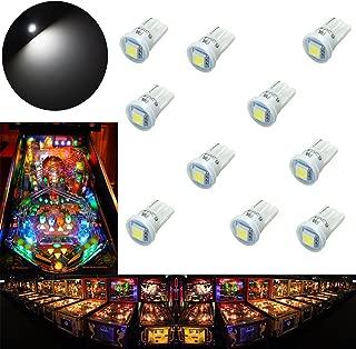 PA 10PCS #555 T10 1SMD LED Wedge Pinball Machine Light Top View Bulb White-6.3V