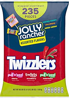JOLLY RANCHER and TWIZZLERS Assorted Fruit Flavored Candy, Individually Wrapped, 66.88 oz Bulk Variety Bag (235 Pieces)
