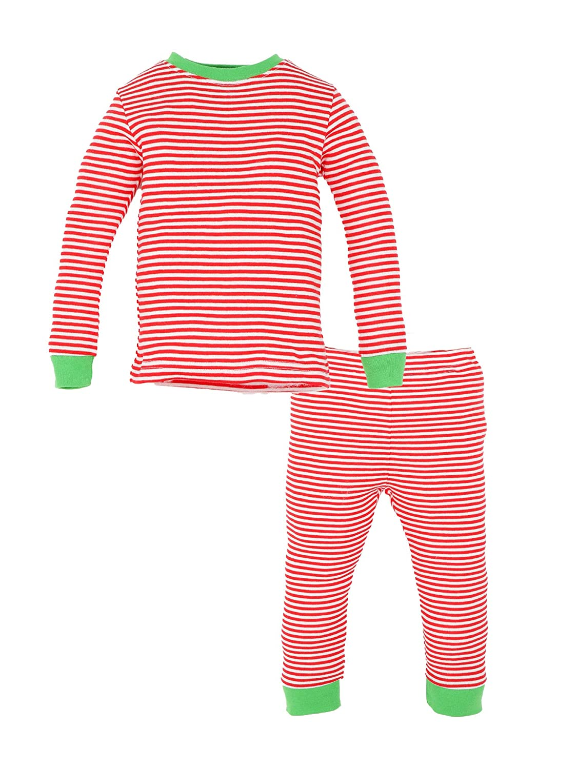 Under The Nile Organic Cotton Toddler Holiday Candy Cane Stripe Long Johns, 18 Months