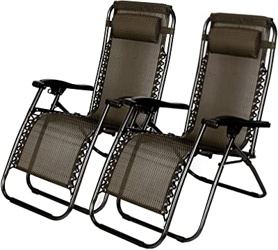 TNPSHOP 2 PCS Zero Gravity Folding Lounge Beach Chairs Outdoor Recliner in Black Paid