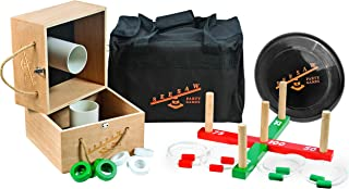 Seesaw Party Games - Premium Wooden Ring Toss Game - Washer Toss Game - Frisbee - Carry Bag Included