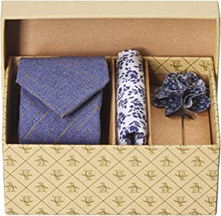 Original Penguin 男式 3 件套纯色领带,口袋方形和翻领别针,*蓝,均码