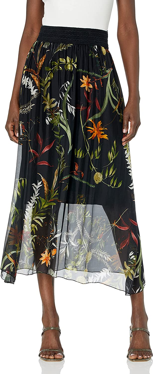 M Made in Italy Women's Floral Flowy Boho Maxi Skirt