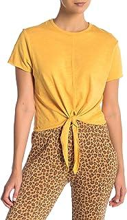 Alternative Yellow Womens US Size Medium M Tie Hem Crewneck Blouse