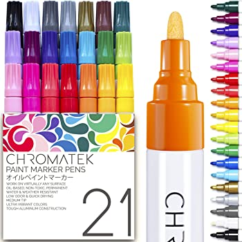 Paint Pens for Rock Painting, Stone, Ceramic, Glass, Wood. 21 Pens by Chromatek. Medium Tip. Waterproof. Quick Drying. Never Fade. Online Video Tutorials, Ebook With Dozens of Ideas and Lessons.