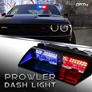 Prowler Emergency Dash Light - True Daytime Visible LED 18 Strobe Patterns for Law Enforcement, Warning, First Response, Fire, Security, and Traffic Control POV Vehicles - 2 Yr Warranty [Red/Blue]