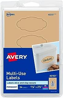Avery Multi-Use Labels, Kraft Brown Oval Scroll 1-1/8