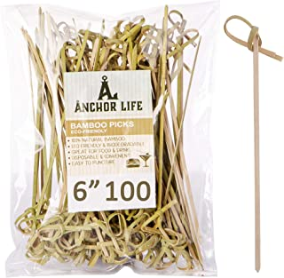 Cocktail Pick Food Appetizer Toothpick – 6 inch Bamboo Fruit Toothpick (100 Pack) – Bamboo Skewers Food Picks – Party Toot...