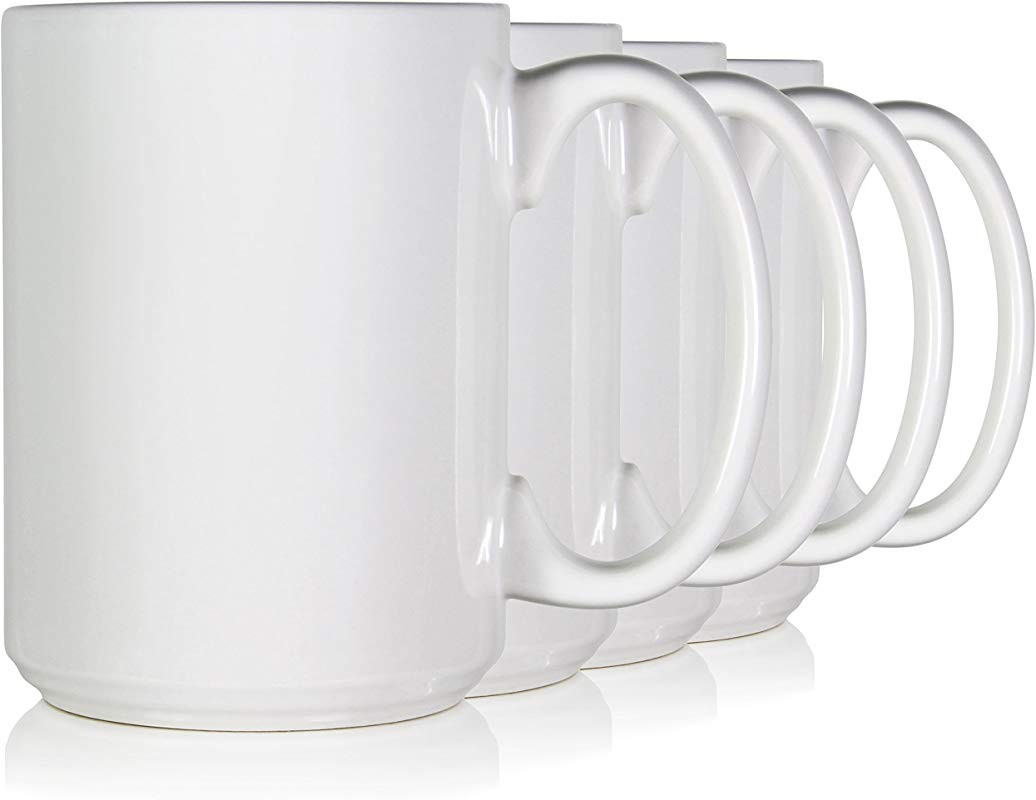 Serami White Classic Coffee Mugs With Large Handles And 15oz Capacity Set Of 4